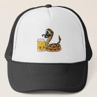 Lustige Klapperschlangen-trinkendes Bier Truckerkappe