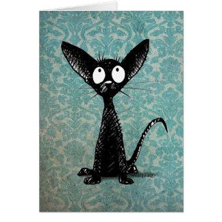 Lustige kleine schwarze Katze auf Vintagem blauem Grußkarte
