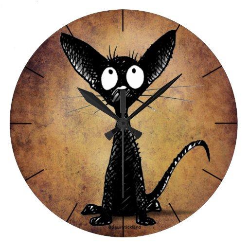 Lustige kleine schwarze katze wanduhren zazzle - Witzige wanduhren ...