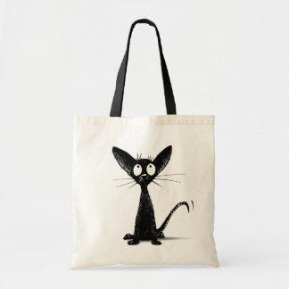 Lustige kleine schwarze orientalische Katze Tragetasche