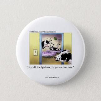 Lustige Knöpfe: Kühe: Pasteur Schlafenszeit Runder Button 5,7 Cm
