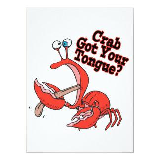 lustige Krabbe erhielt Ihren Zungeentwurf Individuelle Einladungskarten
