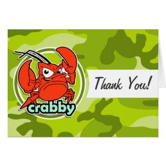 Lustige Krabbe; hellgrüne Camouflage, Tarnung Karte