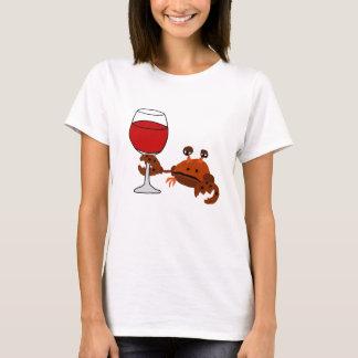 Lustige Krabben-trinkende Wein-Grafik T-Shirt