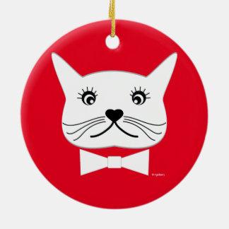 Lustige Kreuz-mit Augen männliche Katze, cool Keramik Ornament