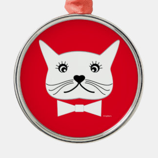 Lustige Kreuz-mit Augen männliche Katze, cool Silbernes Ornament