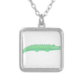 Lustige Krokodil-nahtloses Muster Versilberte Kette