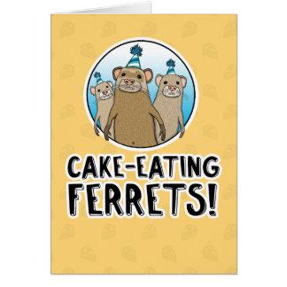 Lustige Kuchen-Frettchengeburtstagskarte Grußkarte