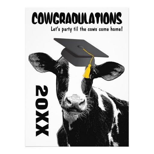 Lustige Kuh-Abschluss-Glückwünsche Personalisierte Einladungen