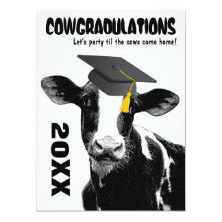 Lustige Kuh-Abschluss-Glückwünsche 16,5 X 22,2 Cm Einladungskarte