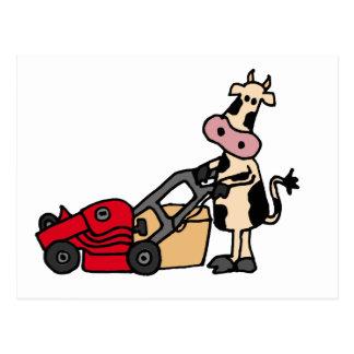 Lustige Kuh, die roten Rasenmäher-Cartoon drückt Postkarte
