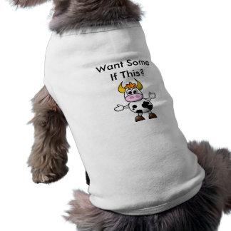 Lustige Kuh-Hundewecker-Mode Ärmelfreies Hunde-Shirt