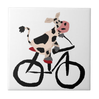 Lustige Kuh-Reitfahrrad-Kunst Fliese