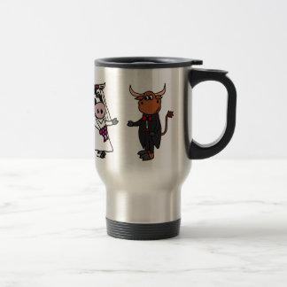 Lustige Kuh und Stier-Hochzeit Edelstahl Thermotasse