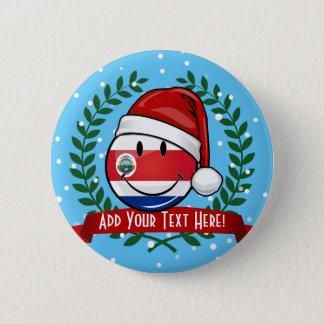 Lustige lächelnde WeihnachtsCosta Rican Flagge Runder Button 5,7 Cm