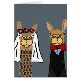Lustige Lama-Braut-und Bräutigam-Hochzeits-Kunst Karte