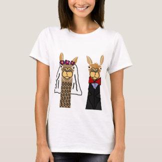 Lustige Lama-Braut-und Bräutigam-Hochzeits-Kunst T-Shirt