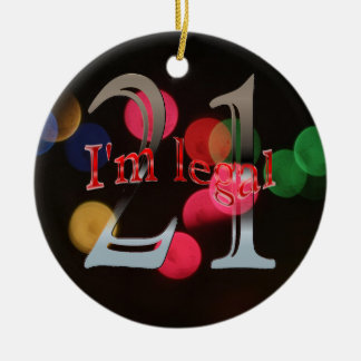 Lustige legale 21. Geburtstag Bokeh Rundes Keramik Ornament