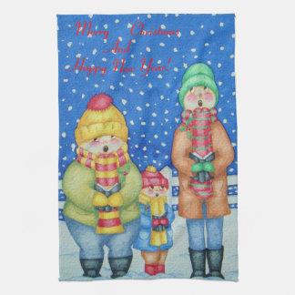 lustige Liedsänger im Schneeweihnachten entwerfen Küchentuch
