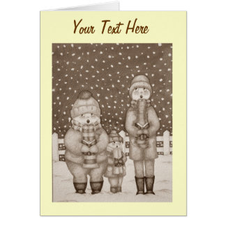 lustige Liedsänger in der Schnee Weihnachtskunst Grußkarte