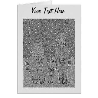 lustige Liedsänger in der Schnee Weihnachtskunst Karten