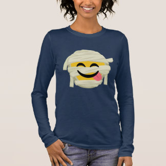 Lustige Mama Bleh Emoji Halloween Langarm T-Shirt