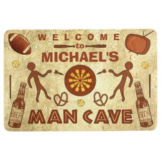 Lustige Mann-Höhle mit Bier trägt individuellen Bodenmatte