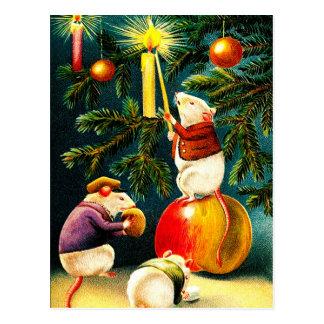 Lustige Mäuse. Vintage Weihnachtspostkarten Postkarte