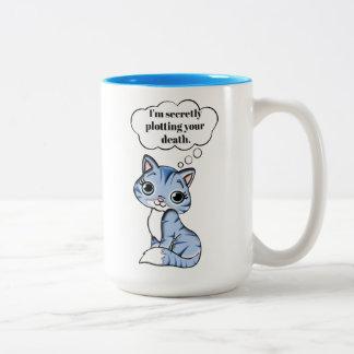 Lustige Miezekatze-Katze, die Ihren Tod grafisch Zweifarbige Tasse