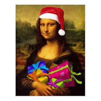 Lustige Mona Lisa Weihnachtsmann Postkarte