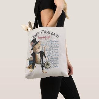 Lustige nähende Mäusegewebe-Versteck-Einkaufsliste Tasche