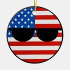 Lustige neigende Geeky USA Countryball Keramik Ornament