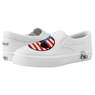 Lustige neigende Geeky USA Countryball Slip-On Sneaker