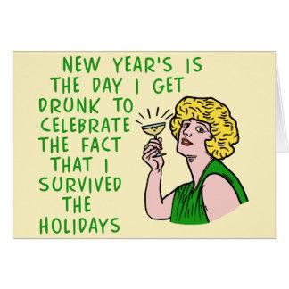 Lustige neue Jahre der Retro trinkenden Karte