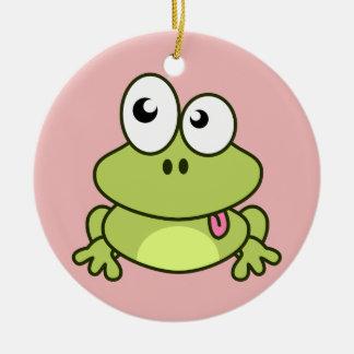 Lustige niedliche Frosch-Cartoonkinder Keramik Ornament