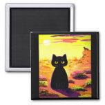 Lustige niedliche Katzen-Wüsten-bunter Sonnenunter Kühlschrankmagnete