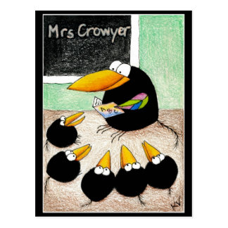 Lustige niedliche Krähen-Lehrer-Studenten Postkarte