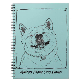 lustige niedliche Realist-Hundekunst Akitas Spiral Notizblock