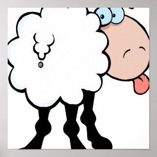 lustige niedliche Schafe, die Zunge heraus von hin Plakate