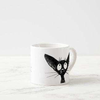Lustige niedliche wenig schwarze Katzen-Kunst Espressotasse