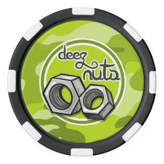Lustige Nüsse; hellgrüne Camouflage, Tarnung Poker Jetons