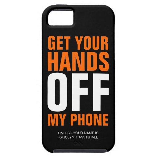 Lustige orange Hände WEG vom Telefon iPhone 5 Etui