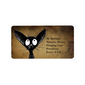 Lustige orientalische schwarze Katzen-Aufkleber Adressetikett