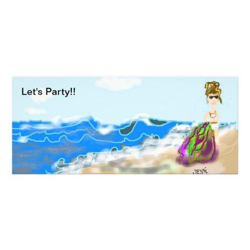 Lustige Party Einladung mit niedlicher Dame auf