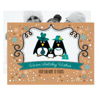 Lustige Penguin-Familien-WeihnachtsFoto-Karten Karte