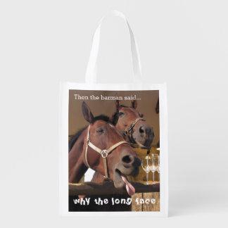 Lustige Pferde Wiederverwendbare Einkaufstasche