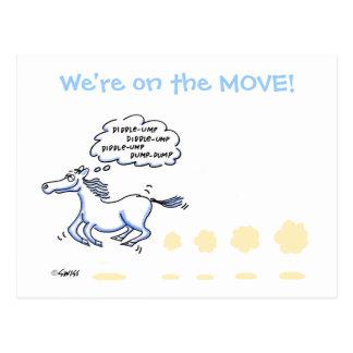 Lustige PferdeCartoon-Adressenänderung Postkarte