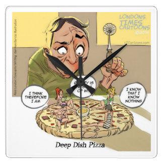 Lustige Philosophie-tiefe Teller-Pizza-Wanduhr Quadratische Wanduhr