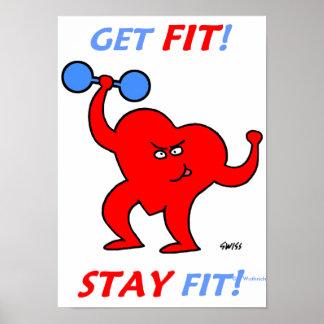Lustige Plakate motivierend für Fitness-Übung