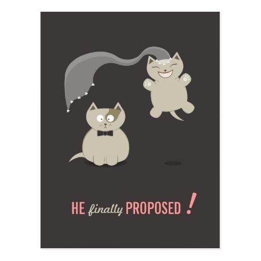 Lustige Postkarte der Cartoon-Katzen Save the Date